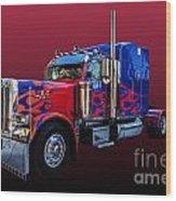 Optimus Prime Red Wood Print
