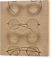 Optometrist - Simple Gold Frames Wood Print by Mike Savad