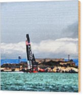 Oracle Team Usa And Alcatraz Wood Print