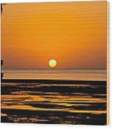 Orange And Black Sunset Abstract Wood Print