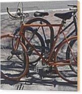 Orange And Blue Bikes Wood Print