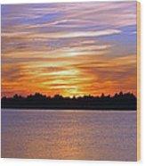 Orange And Blue Sunset Wood Print