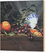 Orange And Grapes Wood Print by Ellen Howell