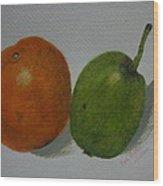 Orange And Pear Wood Print by Kat Poon
