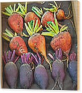 Orange And Purple Beet Vegetables In Wood Box Art Prints Wood Print