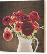 Orange And Red Ranunculus Flowers Wood Print