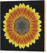 Orange And Yellow Sunflower Flower Mandala Wood Print