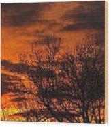 Orange And Yellow Sunset Wood Print