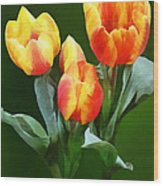 Orange And Yellow Tulips Wood Print