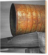 Orange Appeal - Rusty Old Can Wood Print by Gary Heller