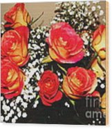 Orange Apricot Roses With Oil Painting Effect Wood Print