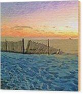 Orange Beach Sunset - The Waning Of The Day Wood Print