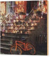 Orange Bicycle By Brownstone Wood Print