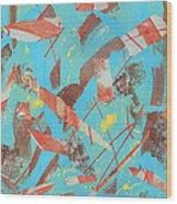 Orange Blue And Brown Wood Print by Ellen Howell