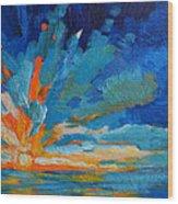 Orange Blue Sunset Landscape Wood Print