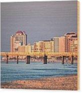 Orange Buildings On The Beach Wood Print