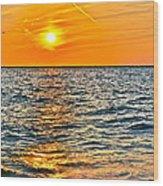 Orange Burn Wood Print