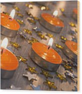 Orange Candles Wood Print