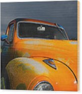 Orange Car Wood Print