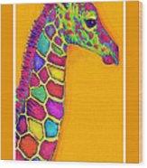 Orange Carosel Giraffe Wood Print