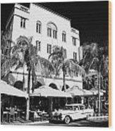 Orange Chevrolet Bel Air In The Cuban Style Outside The Edison Hotel Wood Print by Joe Fox