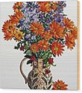 Orange Chrysanthemums Wood Print