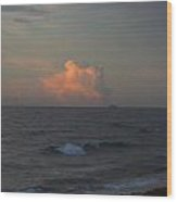Orange Cloud Pops Out Of The Ocean Wood Print