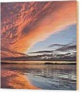 Orange Clouds Over Humboldt Bay Wood Print