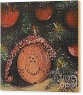 Orange Clover Christmas Wood Print