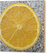 Orange Cut In Half Grey Background Wood Print