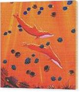 Orange Dolphins Wood Print