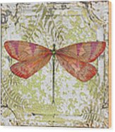 Orange Dragonfly On Vintage Tin Wood Print