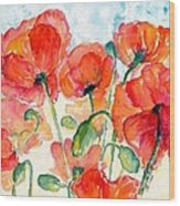 Orange Field Of Poppies Watercolor Wood Print
