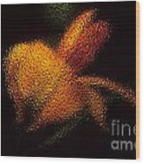 Orange Floral In Abstract Wood Print