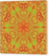 Orange Flower Mandela Wood Print