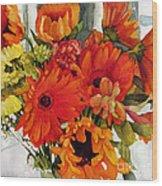 Orange Gerberas Wood Print