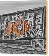 Orange Graffiti Wood Print