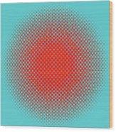 Optical Illusion - Orange On Aqua Wood Print