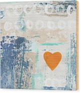 Orange Heart- abstract painting Wood Print