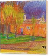 Orange House Wood Print