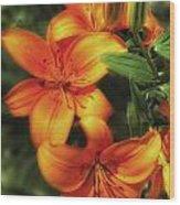 Orange Lillies Wood Print