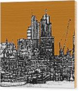 Dark Ink With Bright Orange London Skies Wood Print
