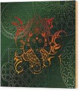 orange Lord Ganesha on green Mandala Wood Print