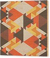 Orange Maze Wood Print