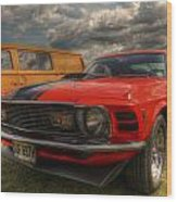 Orange Mustang Wood Print