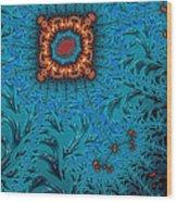 Orange On Blue Abstract Wood Print