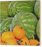 Orange On Green Wood Print