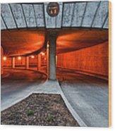 Orange Parking Garage Wood Print