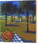 Orange Picking Wood Print