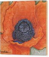 Orange Pop Watercolor Wood Print